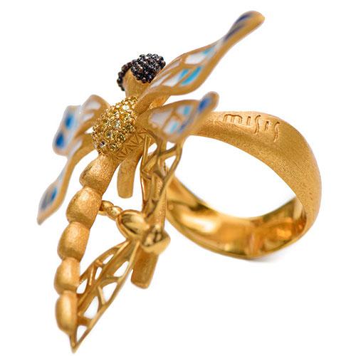 Позолоченное кольцо Misis Lillybeth в виде стрекозы, фото