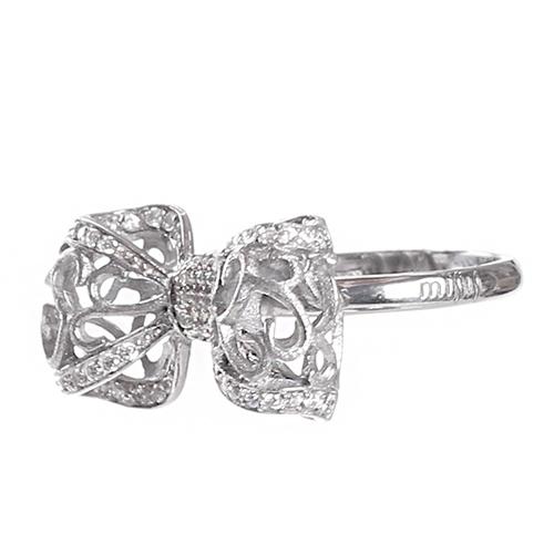 Серебряное кольцо Misis Бант с цирконами, фото