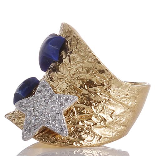Позолоченное кольцо Misis Nefertiti с лазуритом, фото