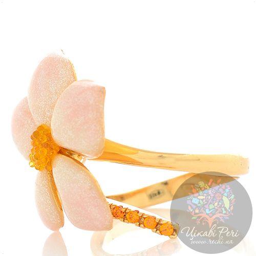 Кольцо Misis De rerum natura с цветком в розовой эмали с бриллиантовой крошкой, фото