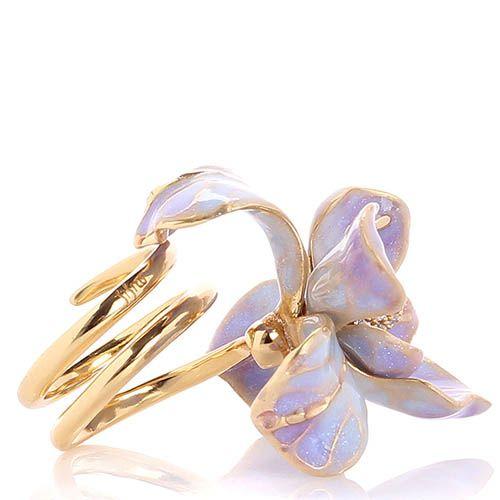 Кольцо Misis Gemina с крупным цветком ириса сиреневого цвета и цирконами, фото