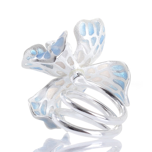 Кольцо Misis Gemina с цветком ириса голубого цвета, фото