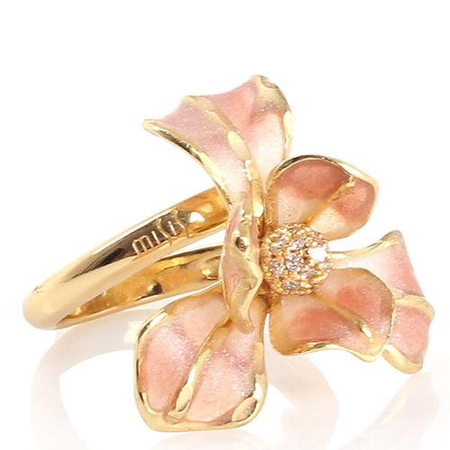 Кольцо Misis Gemina с цирконами и цветком розового цвета, фото