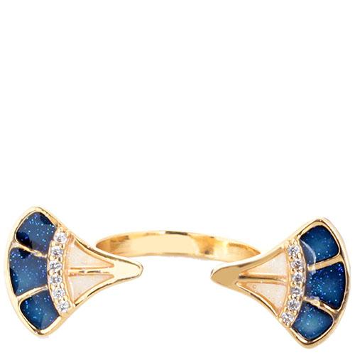 Кольцо Misis Empire с веерами с эмалью синего цвета, фото