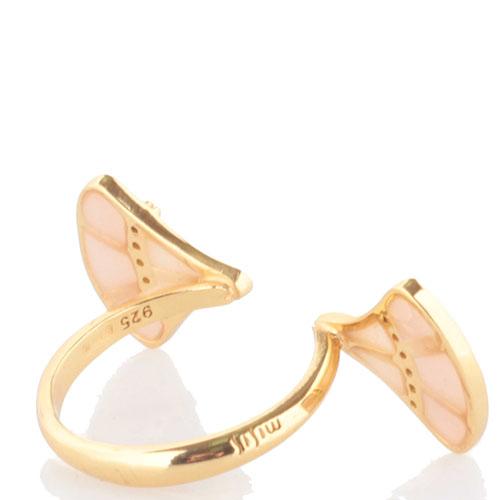Кольцо Misis Empire с веерами с эмалью розового цвета, фото
