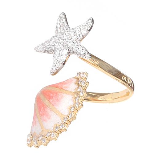 Позолоченное кольцо Misis с ракушкой и морской звездой, фото