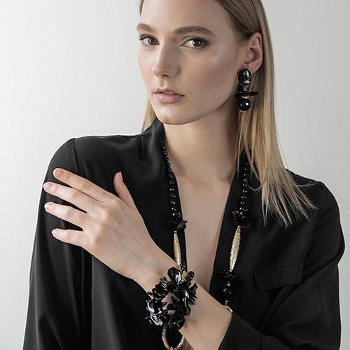 Черный браслет MasMas с ониксом, фото