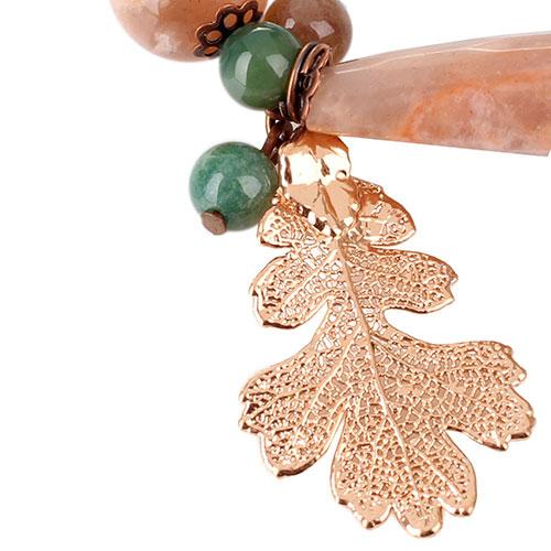 Браслет Ester Bijoux с листом дуба в розовом золоте, фото