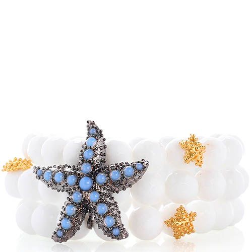 Тройной браслет Misis Moorea из белых агатов со звездой с голубыми опалами, фото