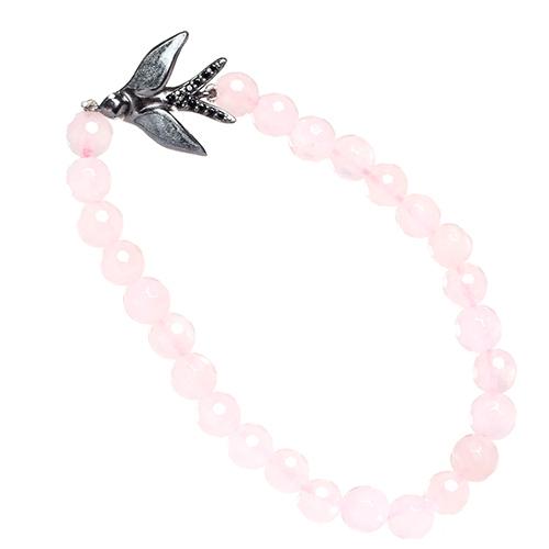 Розовый браслет Misis Ласточка с кварцем, фото