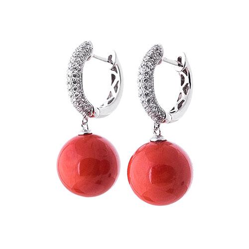 Серьги-шарики Оникс с кораллом и бриллиантами, фото