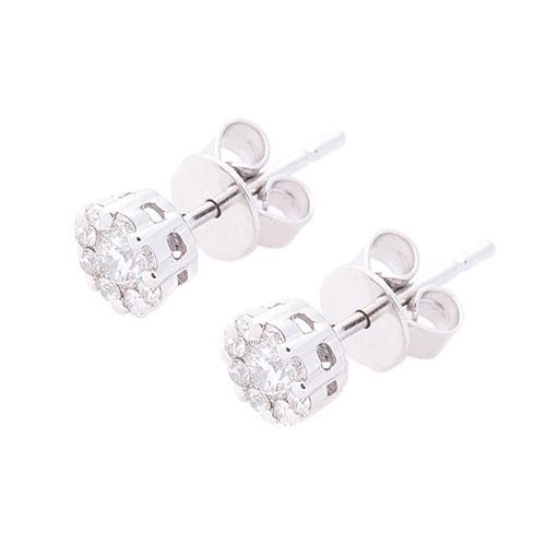 Маленькие гвоздики Оникс круглые с бриллиантами, фото