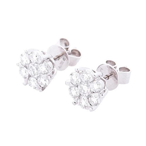 Гвоздики с бриллиантами Оникс из золота, фото