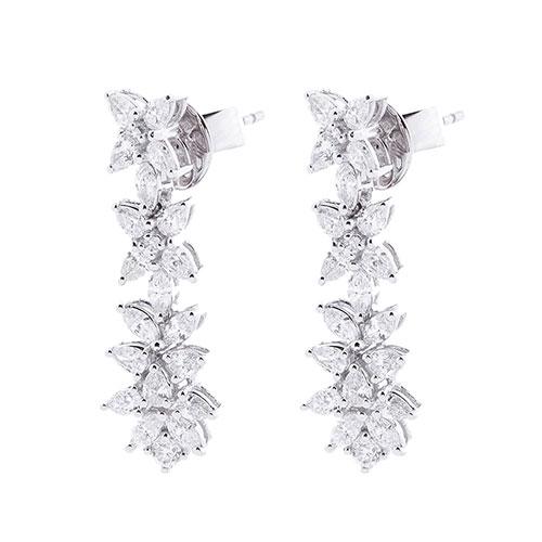 Серьги-пусеты Оникс с бриллиантами в виде цветов, фото