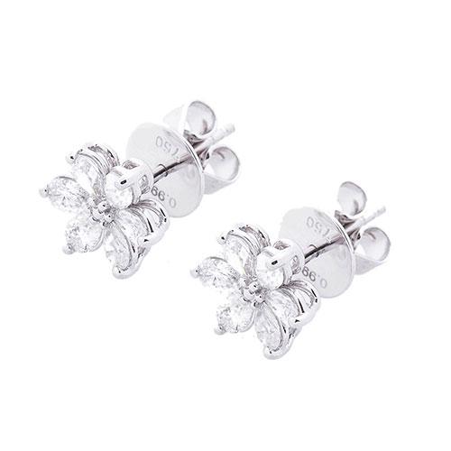 Золотые серьги-пусеты Оникс Цветочки с бриллиантами, фото