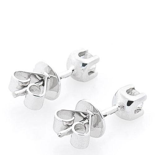 Серьги-гвоздики с бриллиантами из белого золота, фото