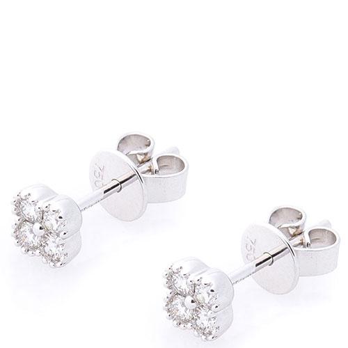 Серьги-пусеты Оникс с бриллиантами из белого золота, фото