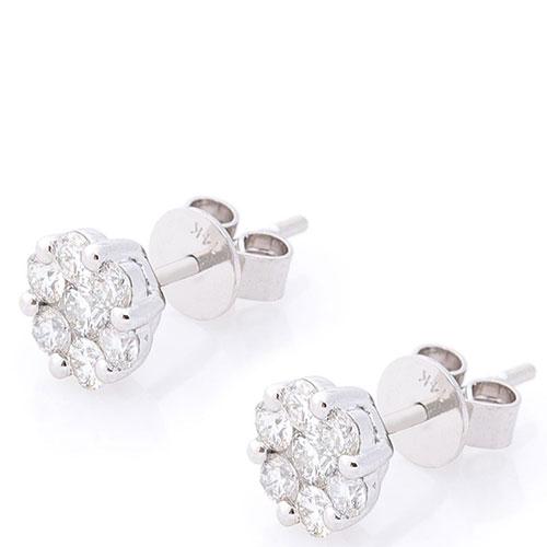 Серьги-пусеты с бриллиантами Оникс золотые, фото