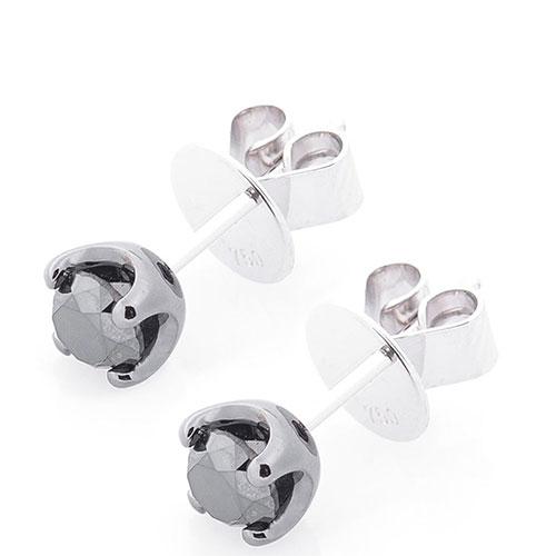 Золотые серьги-гвоздики Оникс с черным бриллиантом, фото