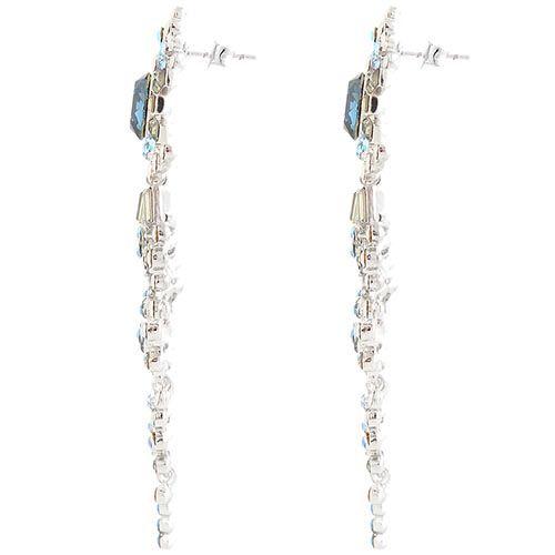 Серьги Parure Milano длинные с круглыми камнями темно-синего цвета и со вставками из прямоугольных кристаллов, фото