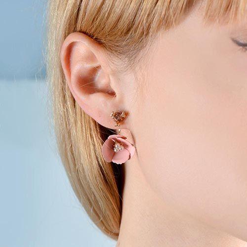 Нежные серьги-гвоздики Jewels бежево-розового цвета, фото