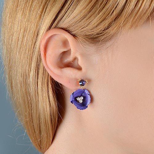 Пуссеты Jewels пурпурного цвета с кристаллом и цветком с бисером, фото