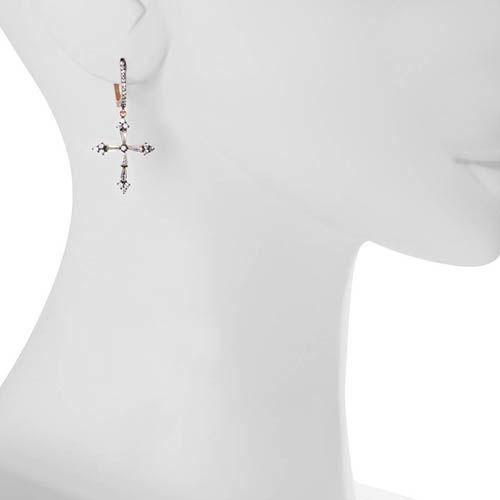 Серьги Armadoro Jewelry с розовым золотом и с крестиками из цирконов, фото