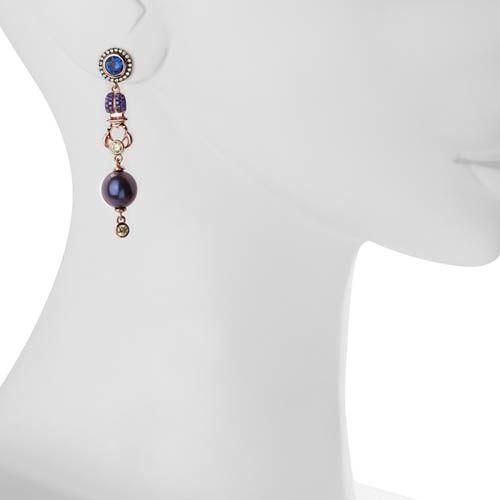 Серьги Armadoro Jewelry с цветными цирконами и фигурками скарабеев, фото