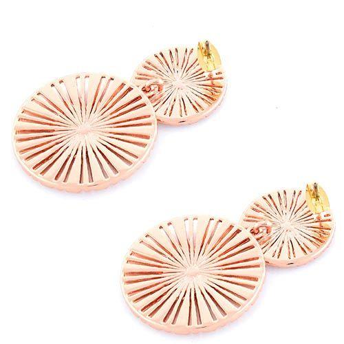 Серьги-пусеты Parure Milano позолоченные с дисками в белых цирконах, фото