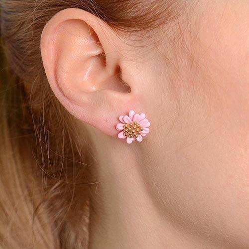 Серьги-пусеты в виде розовых цветов, фото