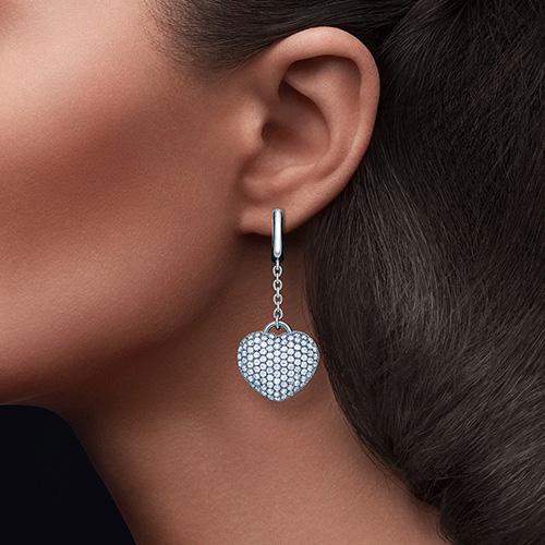 Серьги с подвеской Cava.cool Хрустальное сердце из серебра, фото