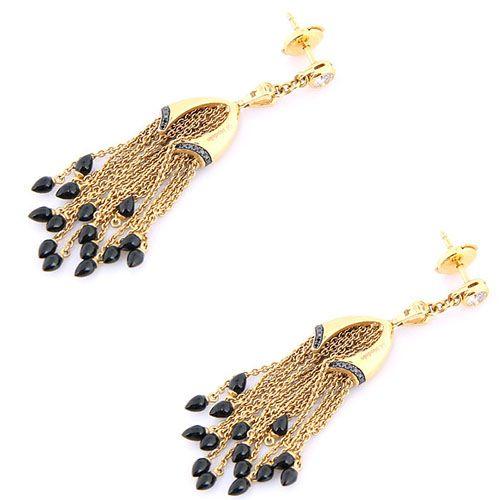 Серьги Di Modolo из золота с подвесками-цепочками с бриллиантами и ониксом, фото