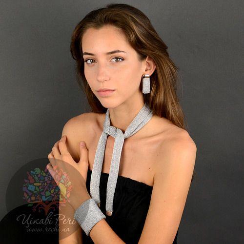 Серьги Adami Martucci из нежной серебряной сетки с розовым золотом, фото