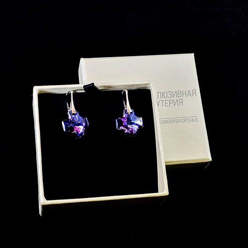 Серебряные серьги She Happy с фиолетовыми кристаллами Swarovski в форме крестика e3009, фото