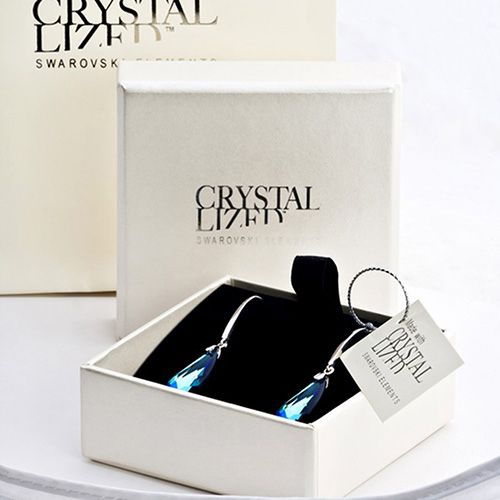Серебряные серьги-капли She Happy с белыми кристаллами Swarovski e6002, фото