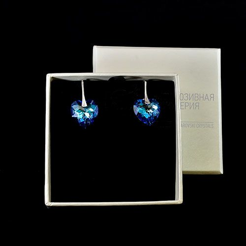 Серебряные серьги She Happy с голубыми кристаллами Swarovski мелкой огранки в виде сердца e6203, фото