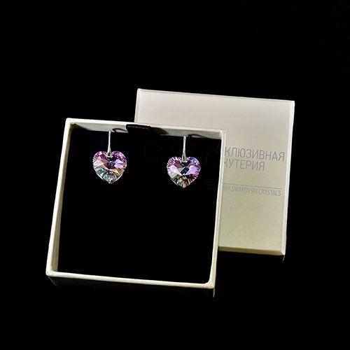 Серебряные серьги She Happy с сиреневыми кристаллами Swarovski мелкой огранки в виде сердца e6213, фото