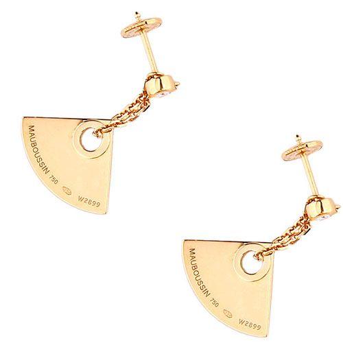Серьги Mauboussin из золота с бриллиантами и брендовой надписью на подвесках, фото