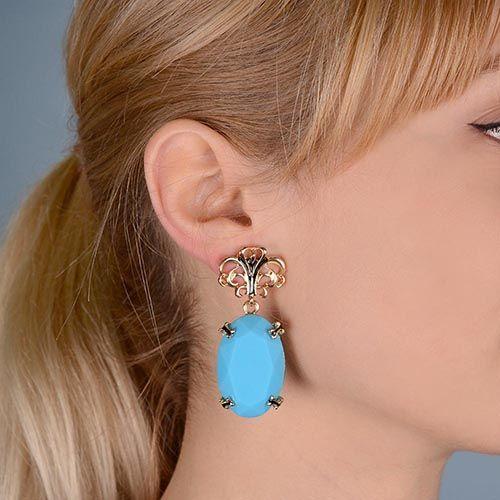 Пуссеты Jewels с кабошоном глубокого голубого цвета, фото