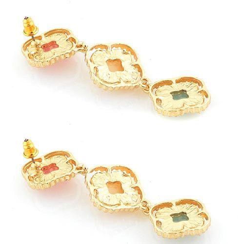 Нежные серьги-гвоздики Jewels в форме цепочки из трех подвесок в пастельных тонах, фото