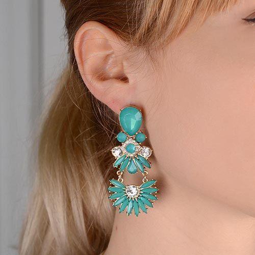 Серьги-пусеты Jewels бирюзового цвета с подвеской в форме веера, фото