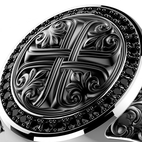 Кольцо-перстень Zancan Gotik с резным узором, фото