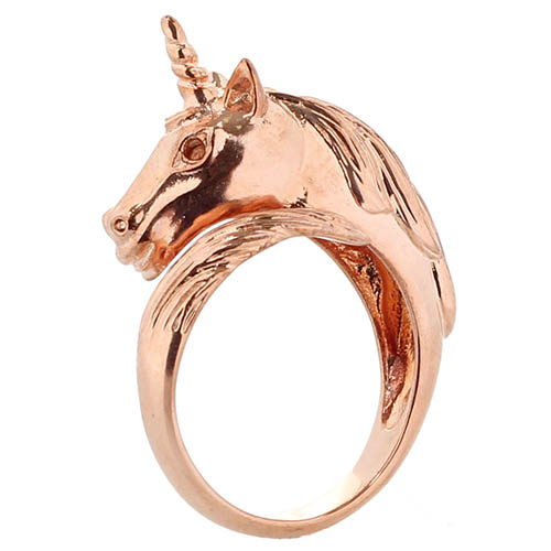 Кольцо Good After Nine Mini Unicorn с единорогом цвета розового золота, фото