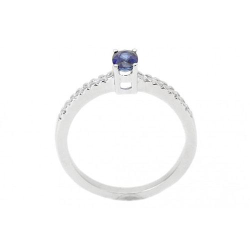 Кольцо из белого золота с бриллиантами и сапфиром, фото