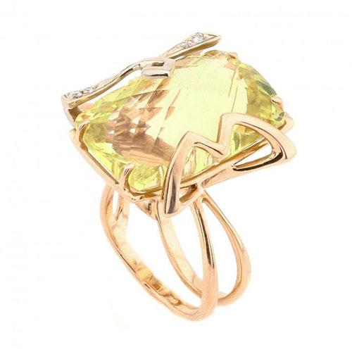 Кольцо из красного золота с бриллиантами и цитрином, фото
