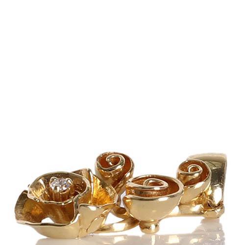 Золотой кулон Roberto Bravo с цветком и бриллиантом, фото