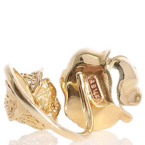 Разомкнутое кольцо Roberto Bravo с перфорированными цветами и бриллиантом, фото
