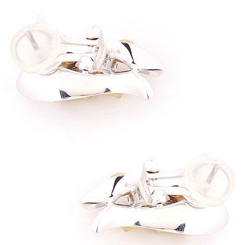 Серьги Annamaria Cammilli с цветочным дизайном из белого и матового желтого золота с бриллиантами, фото