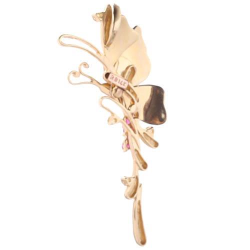 Золотой длинный подвес Roberto Bravo Global Warming в форме бабочки с сапфирами, фото