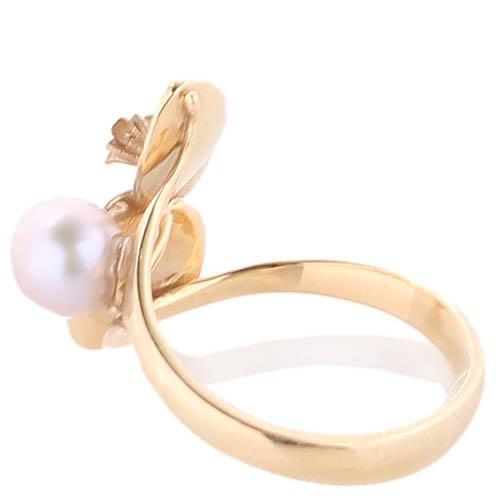 Золотое кольцо Roberto Bravo с розовым жемчугом и золотыми лепестками, фото